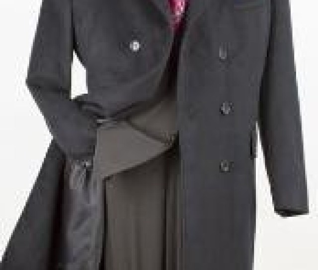 Inch Double Breasted Winter Peacoat Long Wool Blend Feel