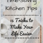 Picture of daikon and knife of cutting board with text overlay - Time-Saving Kitchen Tips - 15 tricks to make your life easier