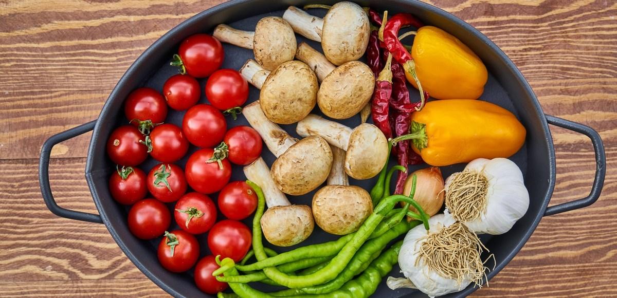 Roasting pan full of vegetables
