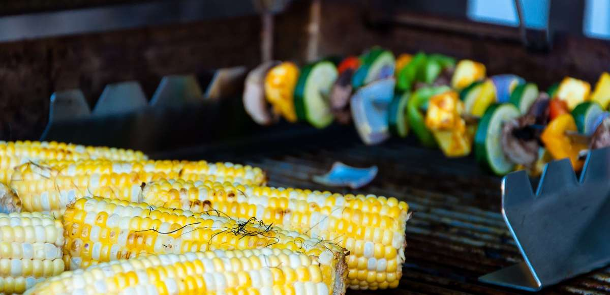 corn and veggie kabobs on the grill