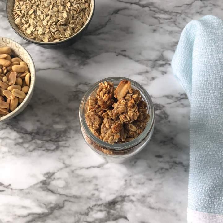 peanut butter granola recipe card image