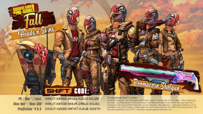 Borderlands the Pre-Sequel Wattle Gobbler Heads and Skins
