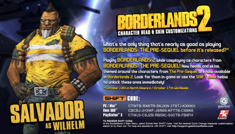 Borderlands 2 shift codes salvador as wilhelm