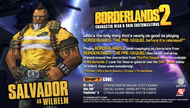 Borderlands 2 shift codes salvador as wilhelm