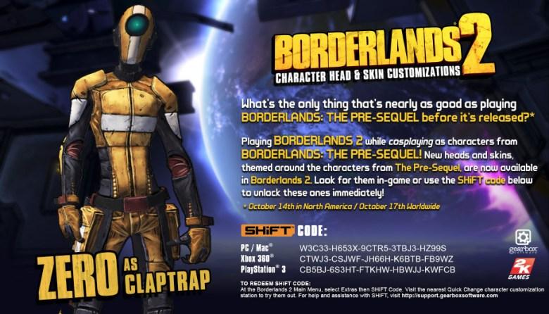 borderlands 2 shift codes Zer0 as Claptrap