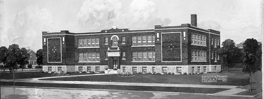 Architectural rendering for the original Ashland Elementary School, 1915.