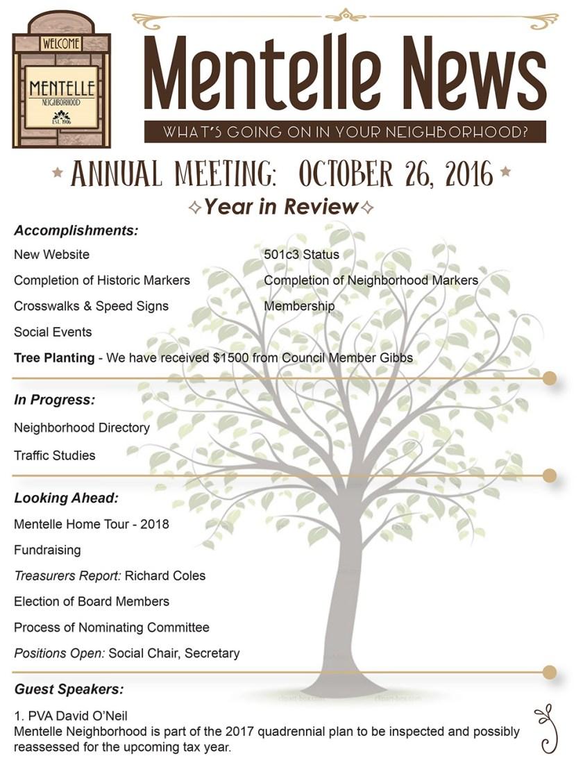 Mentelle Park Assoc Newsletter - October 2016