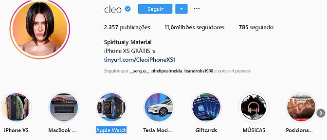 cleo pires tem seu perfil no instagram invadido