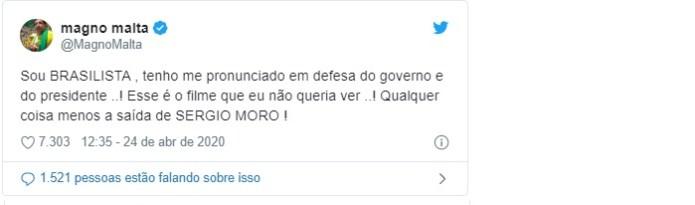 Apoiador de Bolsonaro durante toda a campanha, o ex-senador Magno Malta deixou em aberto se vai manter seu posicionamento pró-governo ao lamentar a saída de Moro