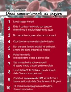 Dieci comportamenti da seguire per combattere il nuovo coronavirus: Ministero della Salute italiano