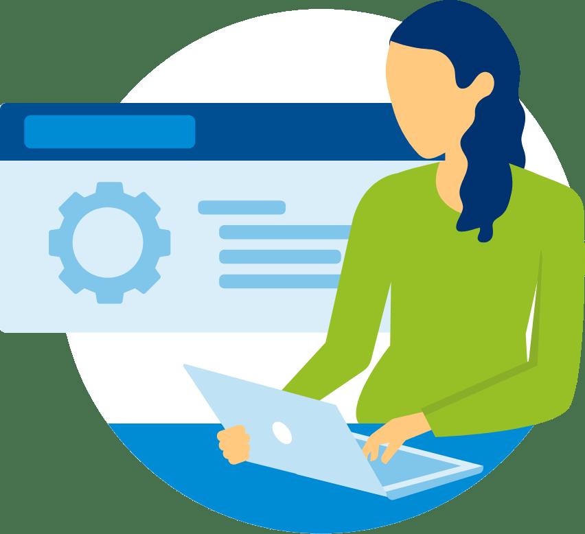 an illustration of an entrepreneur in her office-business mentorship