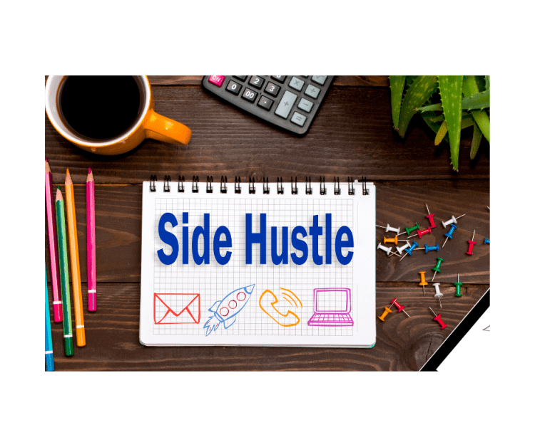 An image of 'side hustle' written on a note book