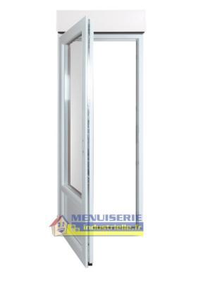porte fenetre pvc 1 vantail haut 205 x larg 90 cm volet roulant electrique lames alu droite pous