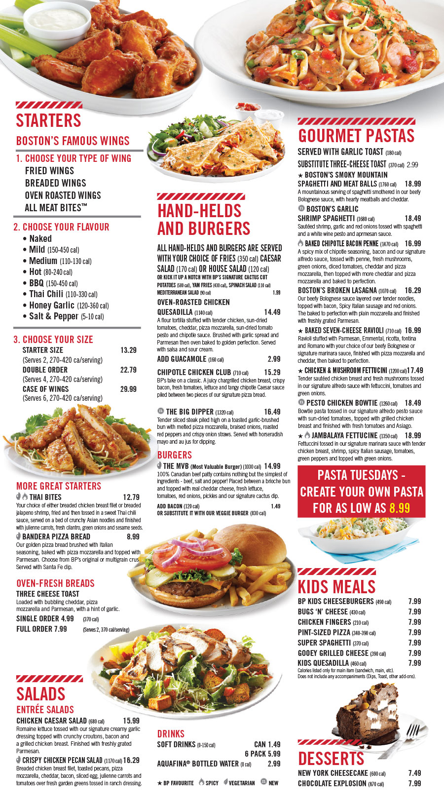 Lunch Menu Boston Pizza