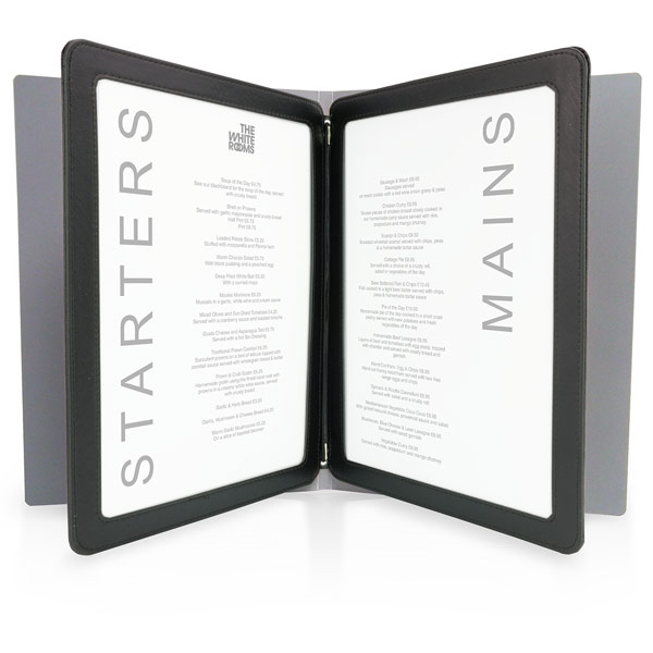 Menu cover interior fixing border frames