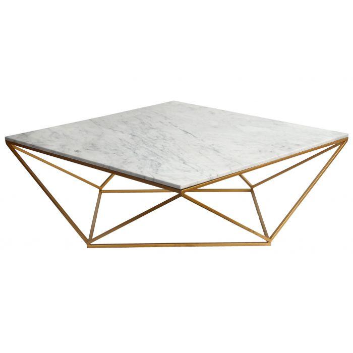 magny couchtisch mit weisser marmorplatte und goldener metallstruktur