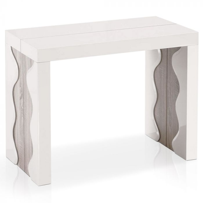 table console extensible ariel laquee ivoire chene