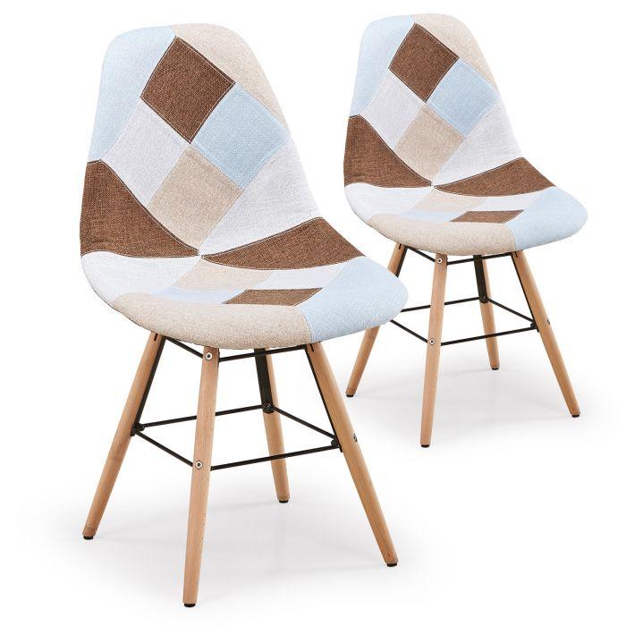 lot de 2 chaises scandinaves lisa patchwork beige