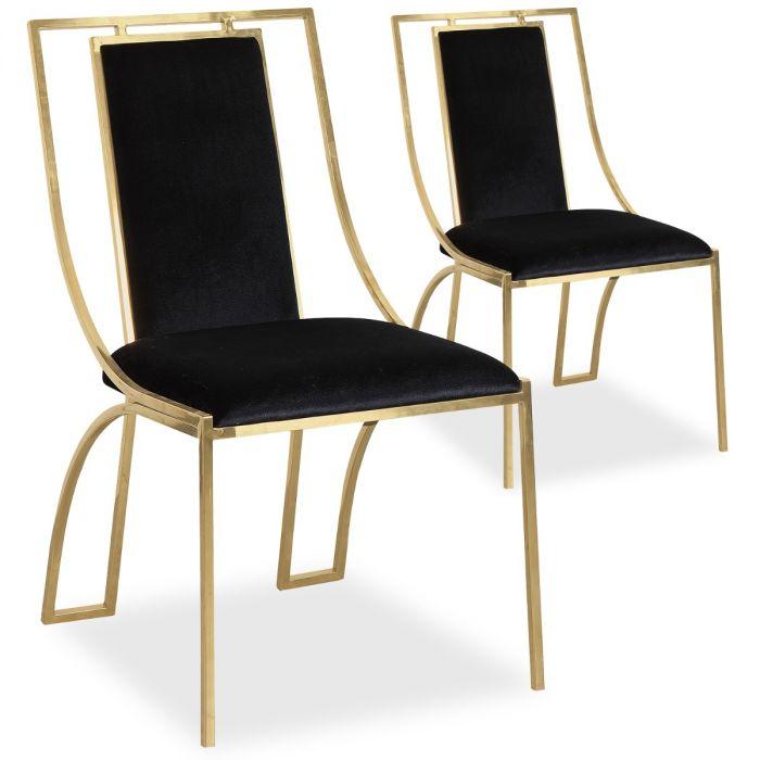 lot de 2 chaises catarina velours noir pieds or