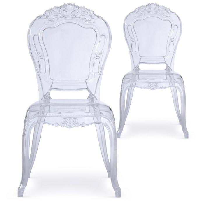 lot de 2 chaises royales crown transparent