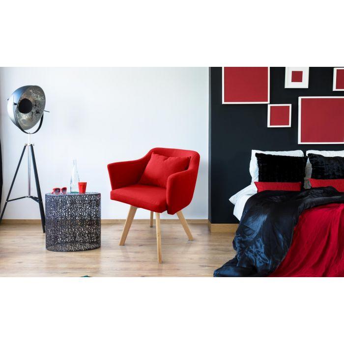 chaise fauteuil scandinave dantes tissu rouge