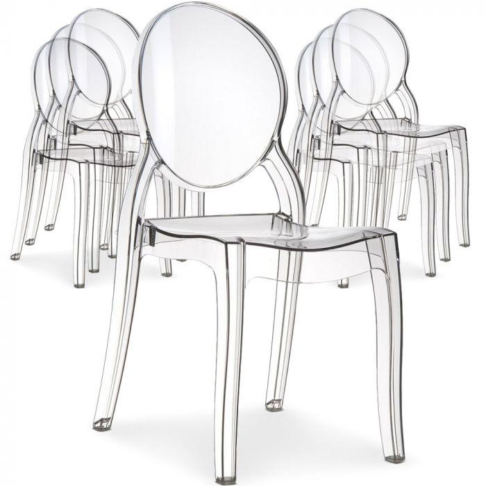 lot de 8 chaises medaillon diva plexi transparent