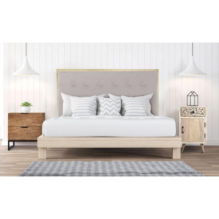 tete de lit donna 140 cm metal or et tissu beige