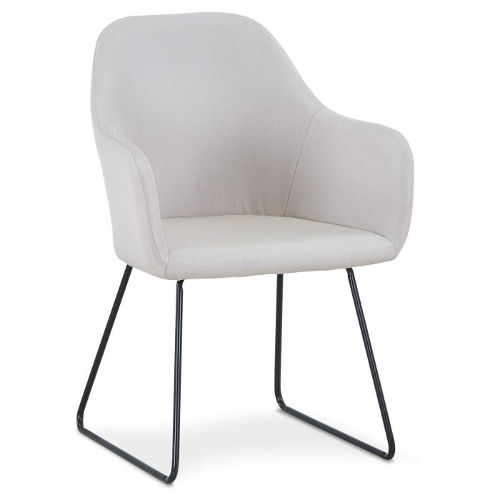 chaise fauteuil epok metal noir et tissu beige