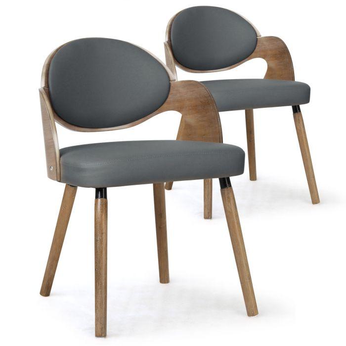 lot de 2 chaises scandinaves estel bois vintage et gris