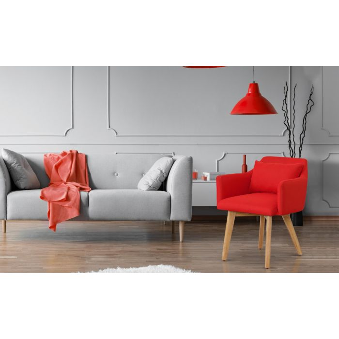chaise fauteuil scandinave gybson tissu rouge
