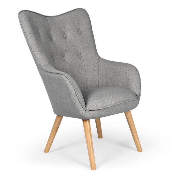 fauteuil scandinave klarys tissu gris