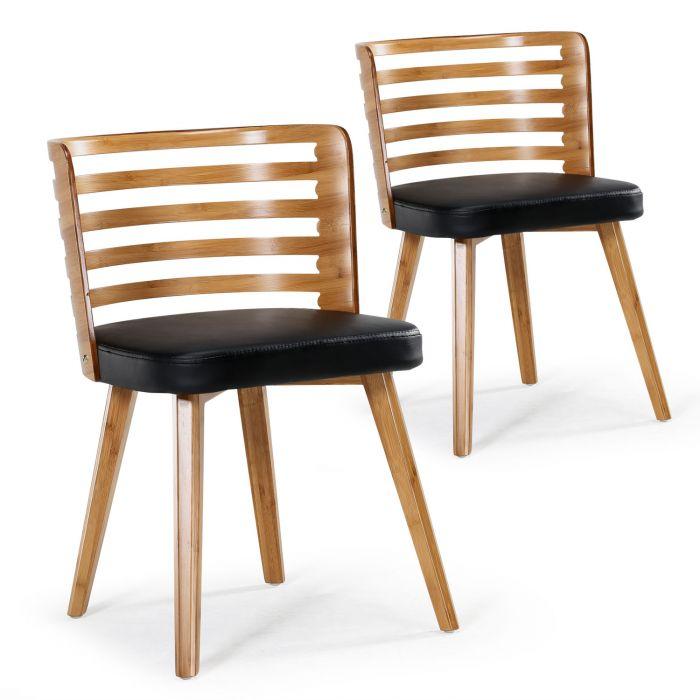lot de 2 chaises scandinave koxy bois naturel et noir