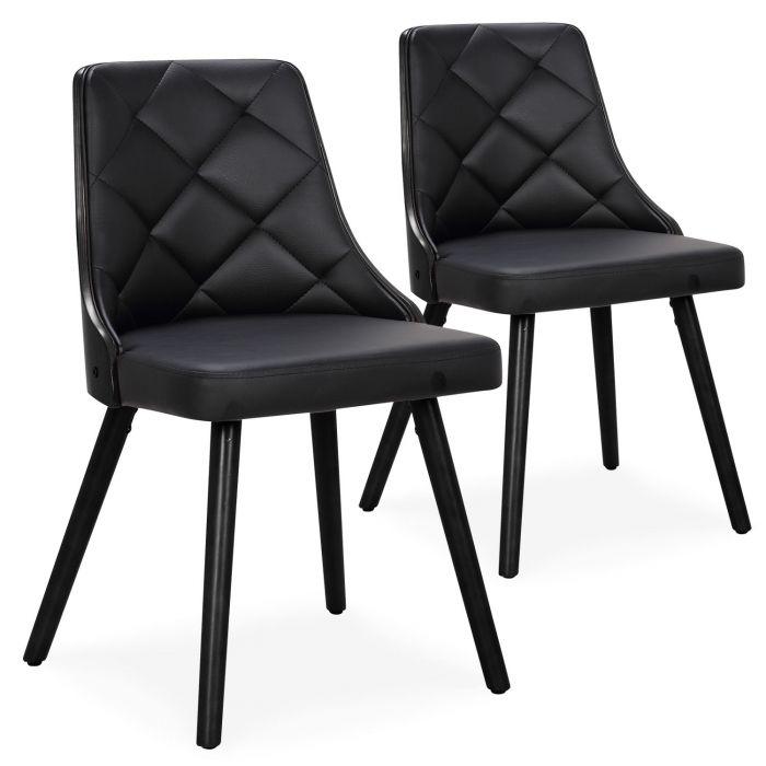 lot de 2 chaises scandinaves lalix bois noir et simili noir