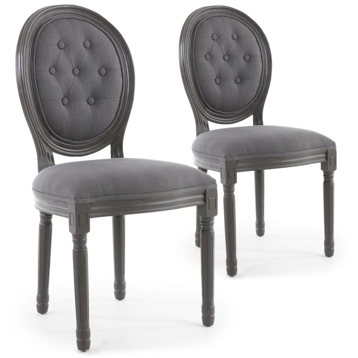 lot de 2 chaises de style medaillon louis xvi bois gris tissu capitonne gris