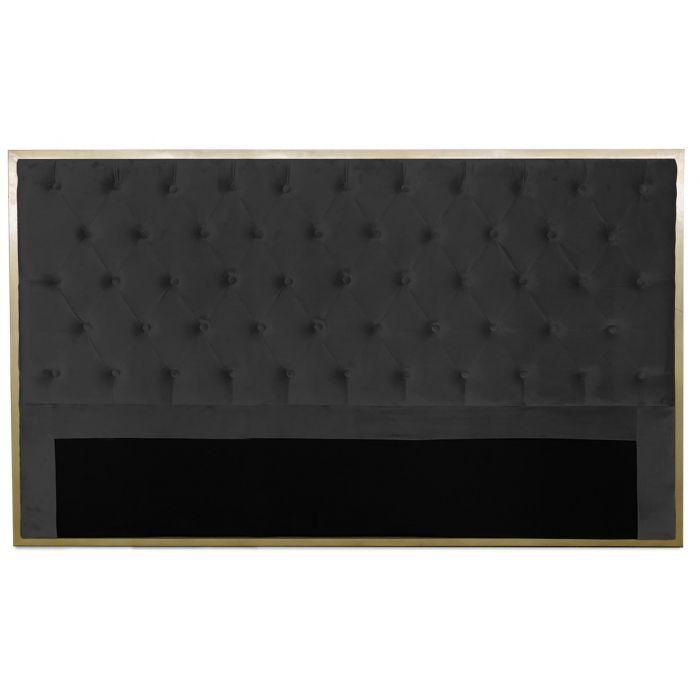 tete de lit mariella 180cm metal or et velours noir