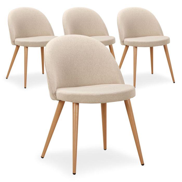 lot de 4 chaises scandinaves maury beige
