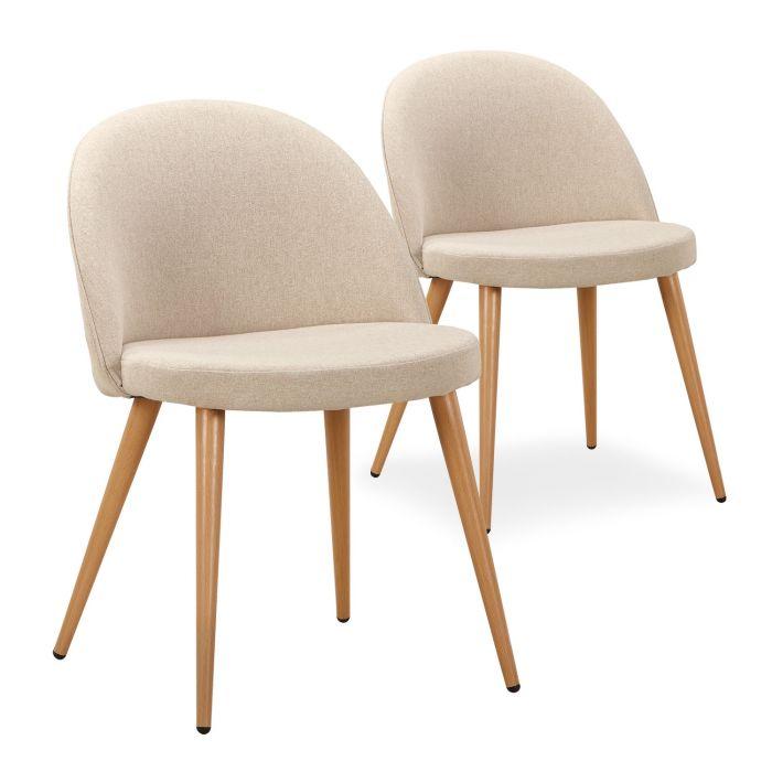 lot de 2 chaises scandinaves maury tissu beige