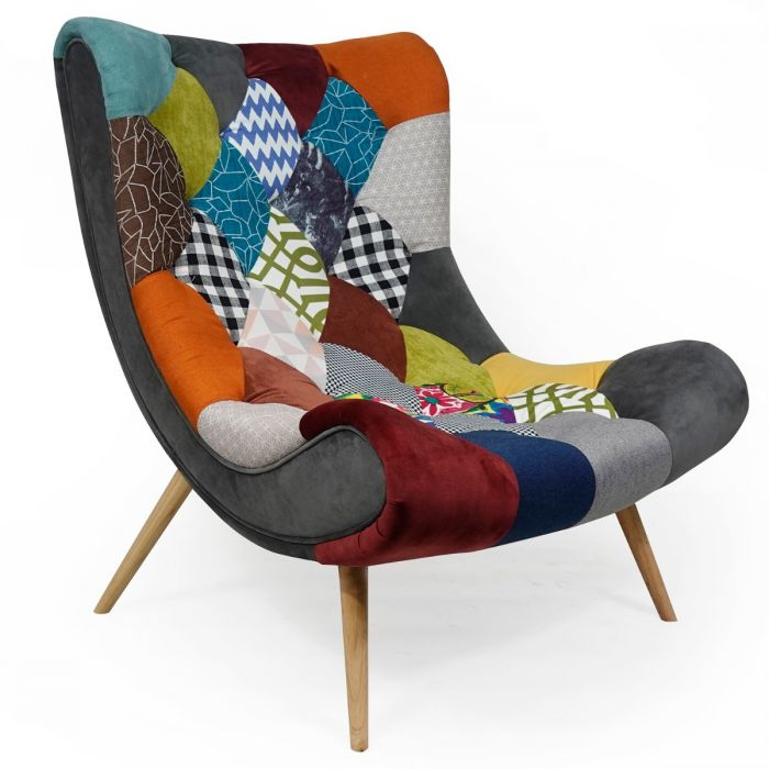 fauteuil scandinave romilly tissu patchwork