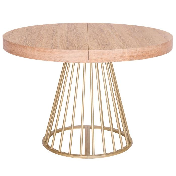 table ronde extensible soare chene clair pieds or
