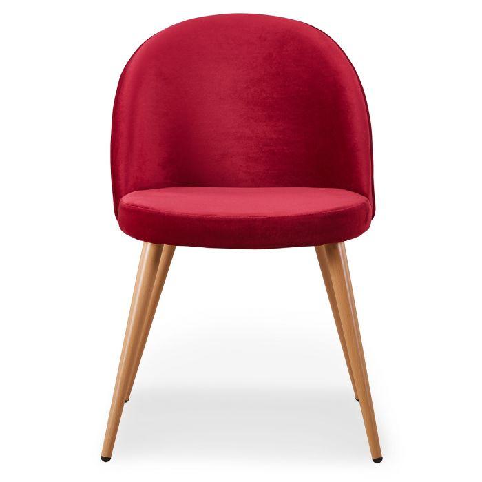 lot de 4 chaises scandinaves tartan velours rouge