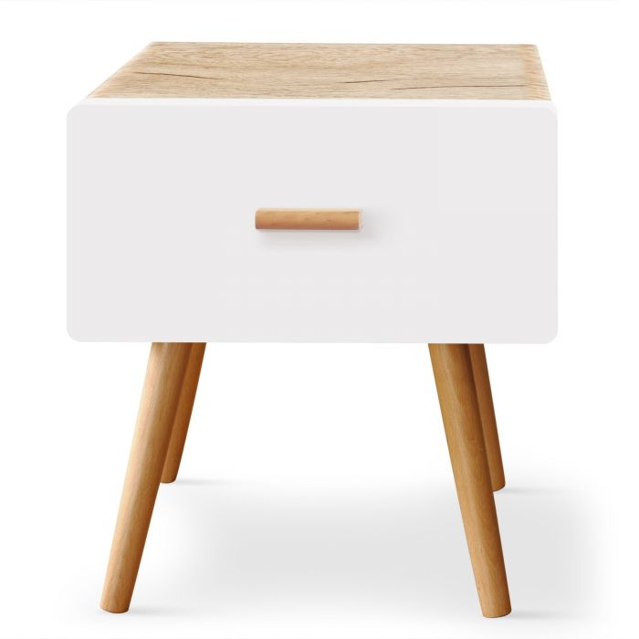 table de chevet scandinave 1 tiroir amanda chene clair et blanc