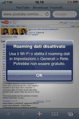 Roaming dati 3 bloccato su rete TIM
