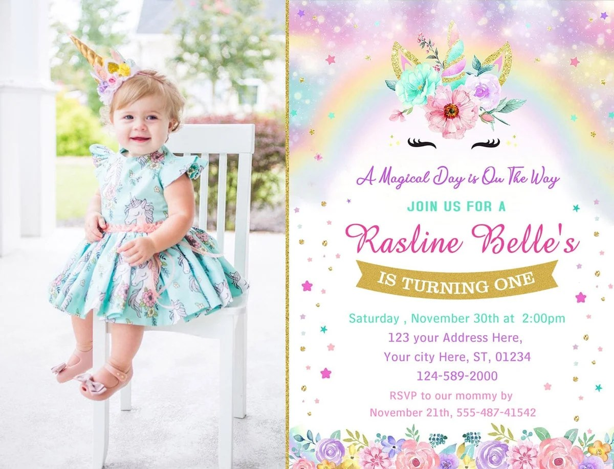 rainbow unicorn themed first birthday party invitation