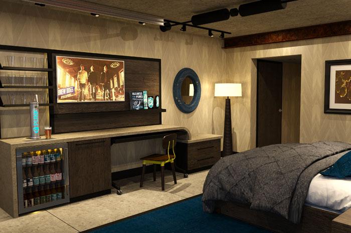 Projeto do quarto inclui cervejas por todos os cômodos.