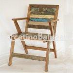 Sedia con braccioli in legno di recupero, origine India