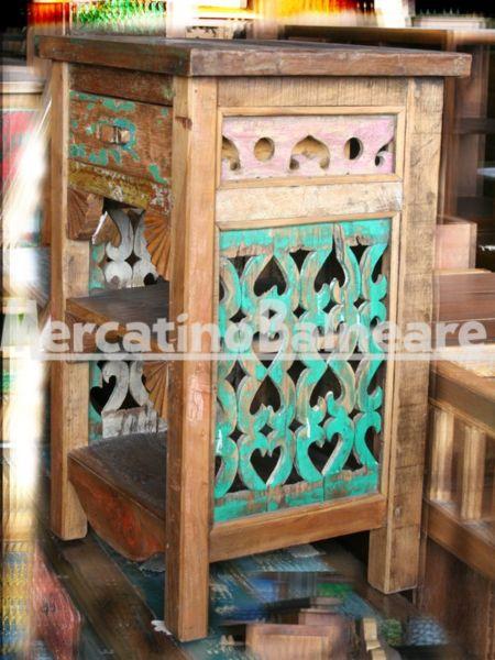 Comodino mobiletto in legno recuperato da imbarcazioni mercatino balneare - Nido api finestra ...