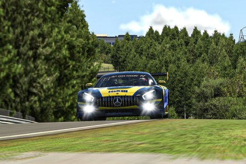 Der Mercedes-AMG GT3 startet virtuell weiter durch Foto: Adrenalin eMotorsport, Mercedes-AMG GT3 #122, Digitale Nürburgring Langstrecken-Serie