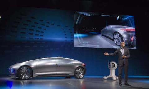Zetsche, head of Mercedes-Benz cars, talks about the Mercedes-Benz F015 Luxury in Motion autonomous concept car during the 2015 International Consumer Electronics Show in Las Vegas
