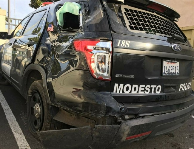 POLICE VEHICLE CRASHED AFTER CHASE, OFFICER TAKEN TO