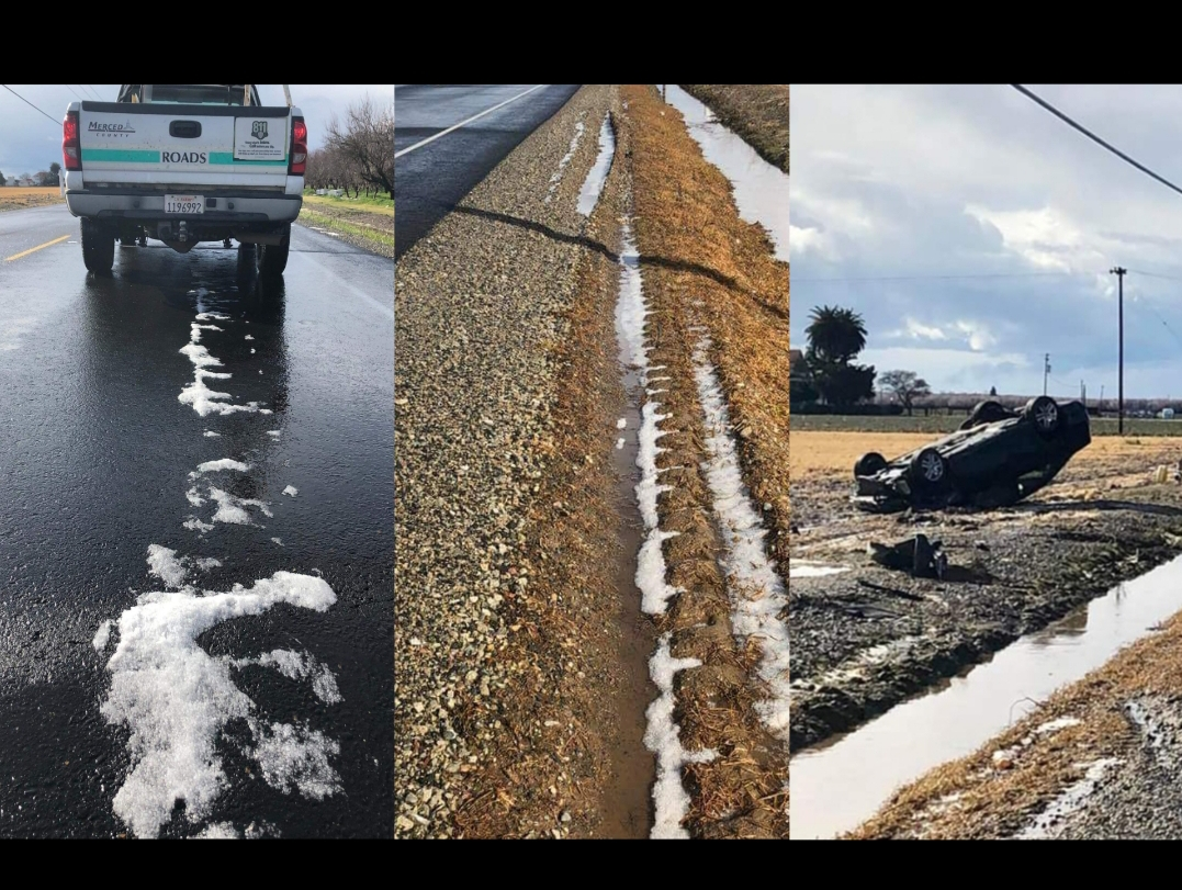 The icy road in Merced County caused the vehicle to roll over